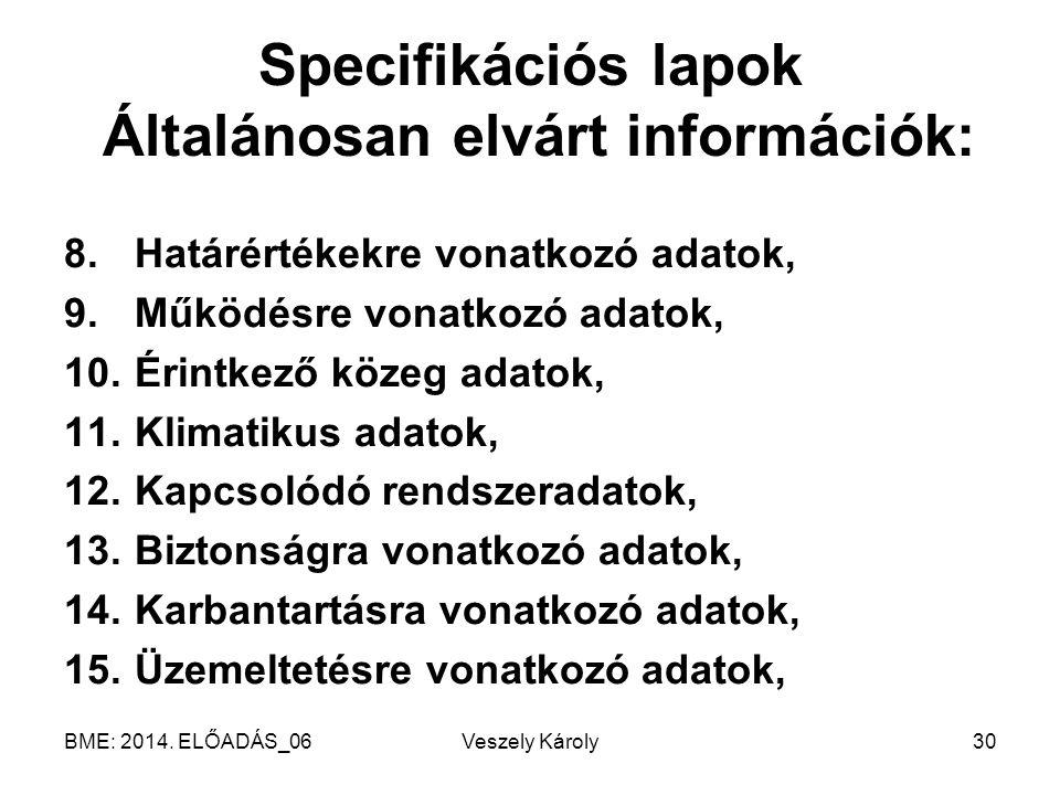 Specifikációs lapok Általánosan elvárt információk: