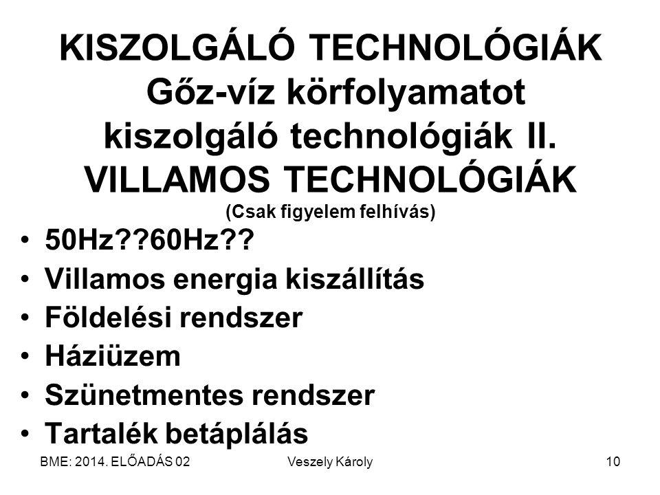 KISZOLGÁLÓ TECHNOLÓGIÁK Gőz-víz körfolyamatot kiszolgáló technológiák II. VILLAMOS TECHNOLÓGIÁK (Csak figyelem felhívás)