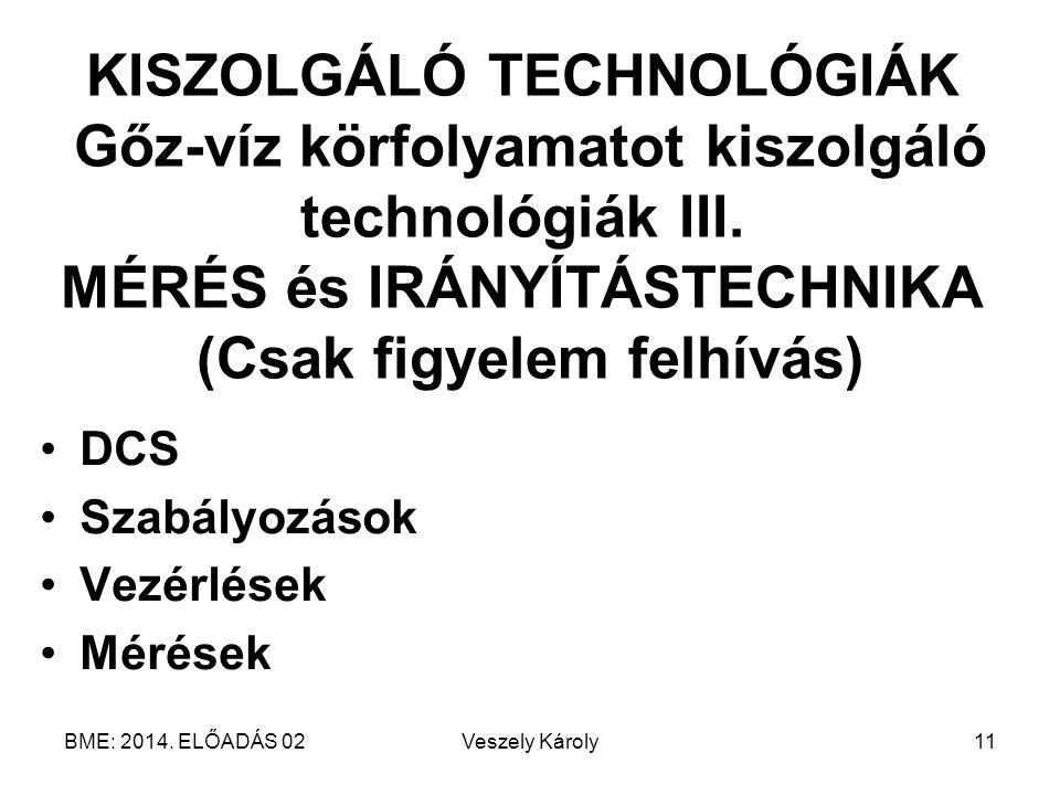 KISZOLGÁLÓ TECHNOLÓGIÁK Gőz-víz körfolyamatot kiszolgáló technológiák III. MÉRÉS és IRÁNYÍTÁSTECHNIKA (Csak figyelem felhívás)