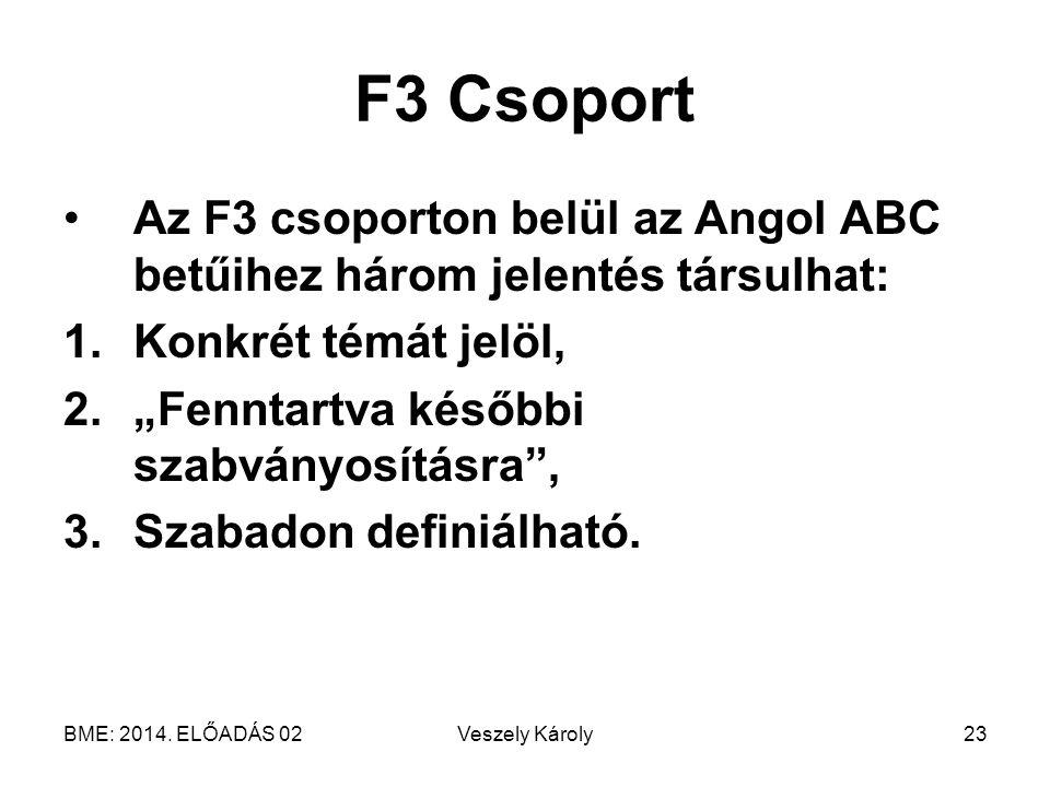 F3 Csoport Az F3 csoporton belül az Angol ABC betűihez három jelentés társulhat: Konkrét témát jelöl,