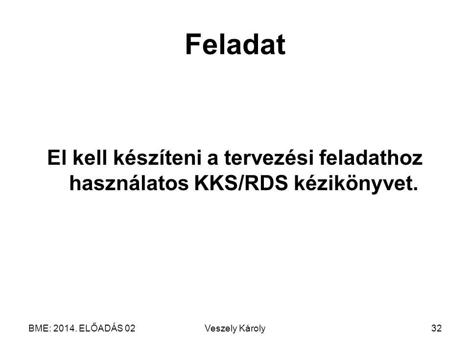 Feladat El kell készíteni a tervezési feladathoz használatos KKS/RDS kézikönyvet. BME: 2014. ELŐADÁS 02.