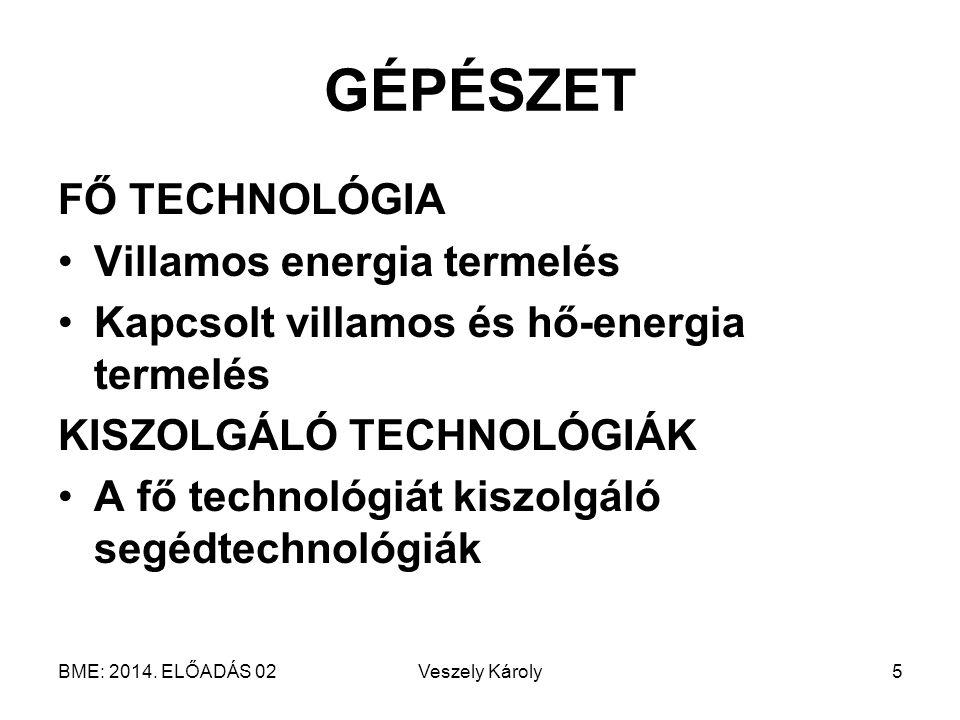 GÉPÉSZET FŐ TECHNOLÓGIA Villamos energia termelés