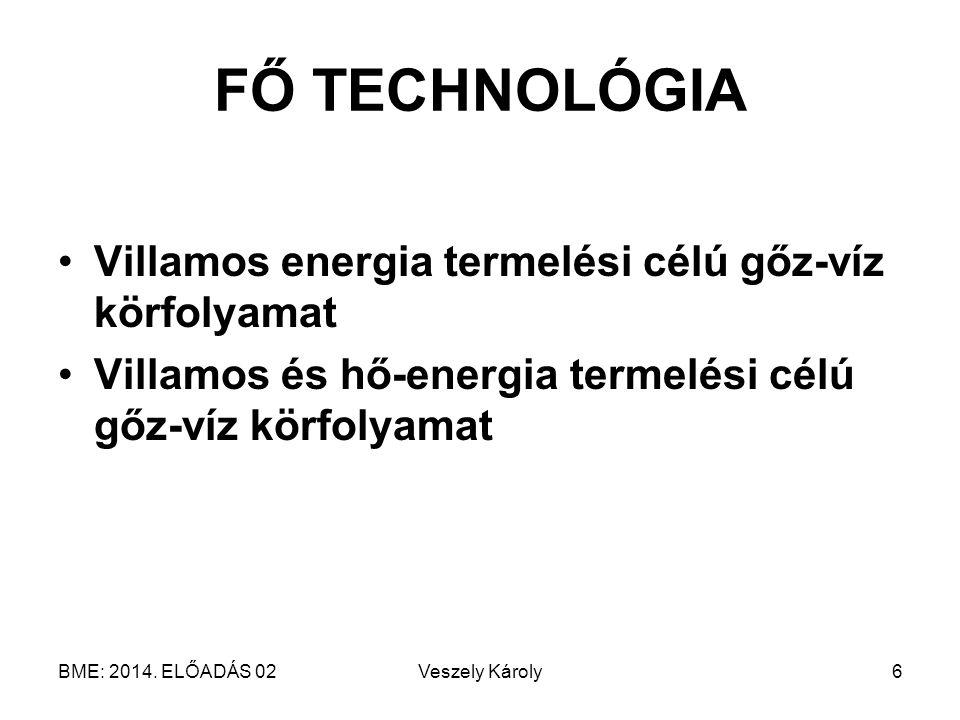 FŐ TECHNOLÓGIA Villamos energia termelési célú gőz-víz körfolyamat