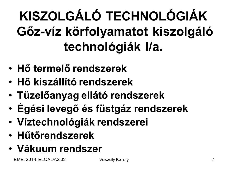 KISZOLGÁLÓ TECHNOLÓGIÁK Gőz-víz körfolyamatot kiszolgáló technológiák I/a.