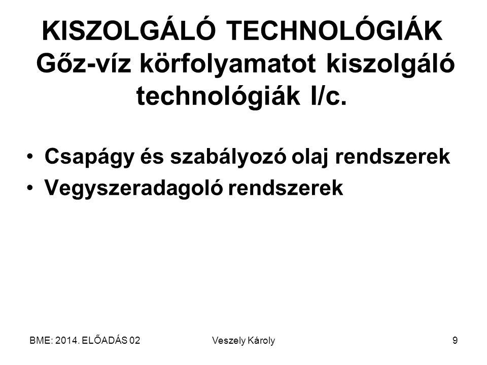 KISZOLGÁLÓ TECHNOLÓGIÁK Gőz-víz körfolyamatot kiszolgáló technológiák I/c.