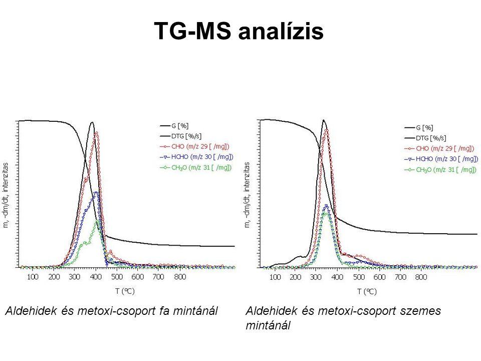 TG-MS analízis Aldehidek és metoxi-csoport fa mintánál Aldehidek és metoxi-csoport szemes mintánál.