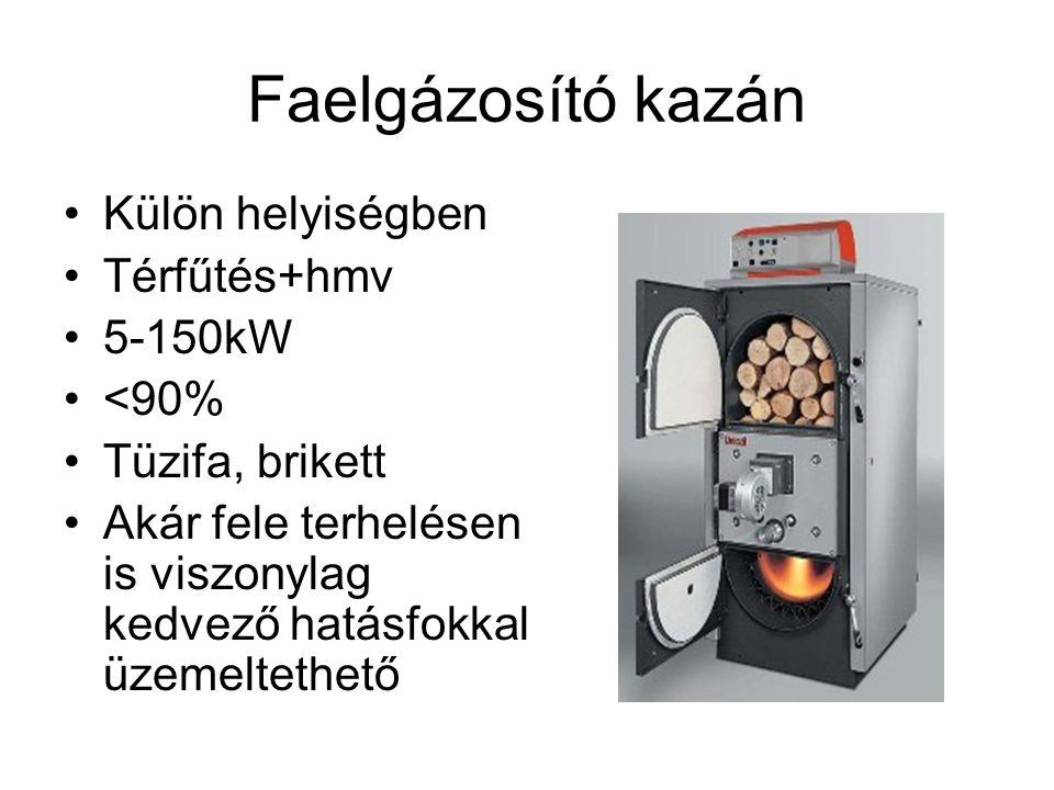 Faelgázosító kazán Külön helyiségben Térfűtés+hmv 5-150kW <90%