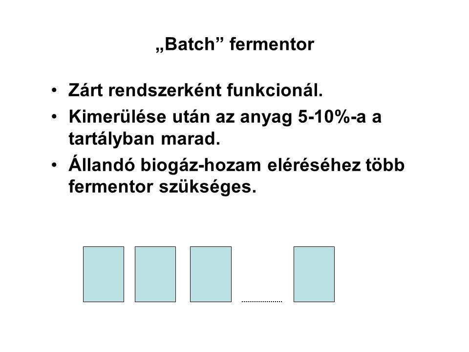 """""""Batch fermentor Zárt rendszerként funkcionál. Kimerülése után az anyag 5-10%-a a tartályban marad."""