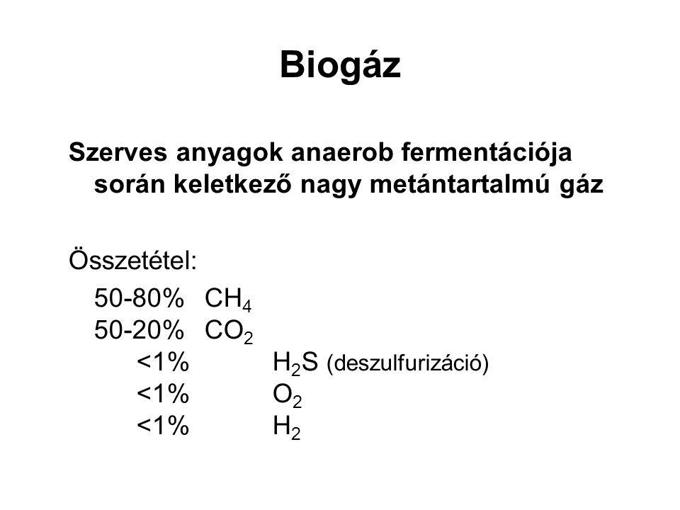 Biogáz Szerves anyagok anaerob fermentációja során keletkező nagy metántartalmú gáz. Összetétel: