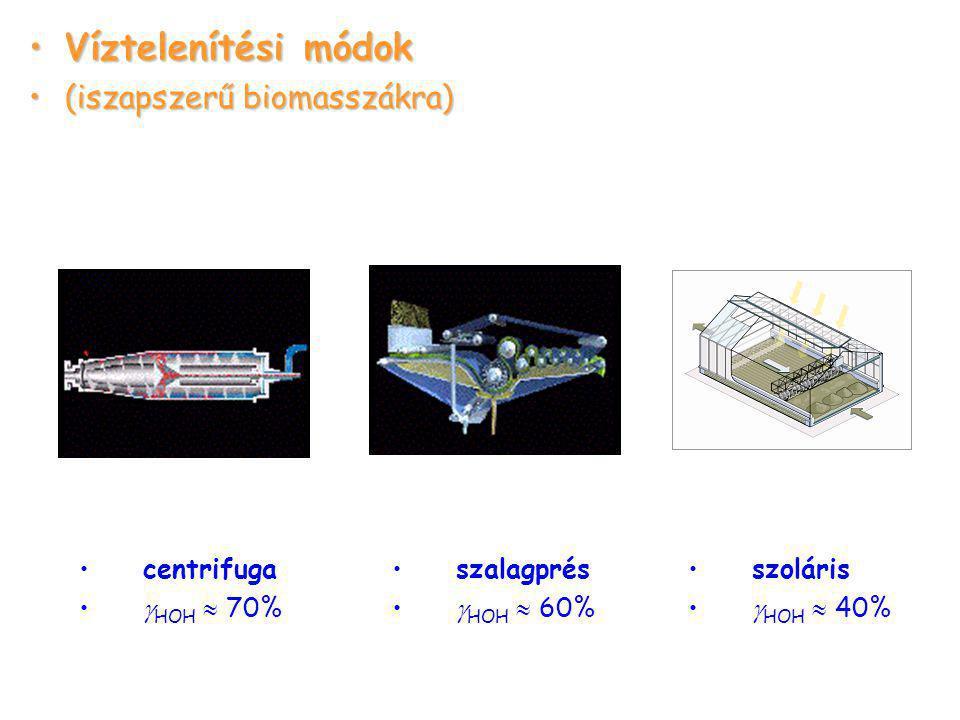 Víztelenítési módok (iszapszerű biomasszákra) centrifuga HOH  70%