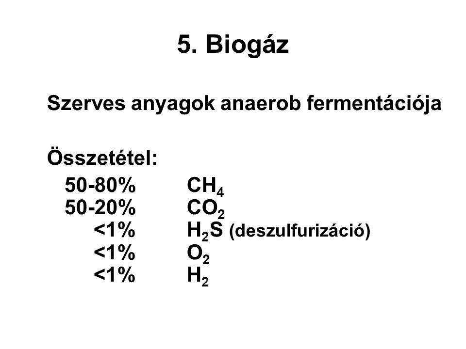 5. Biogáz Szerves anyagok anaerob fermentációja Összetétel: