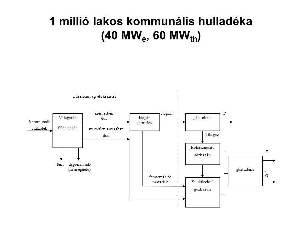 1 millió lakos kommunális hulladéka (40 MWe, 60 MWth)