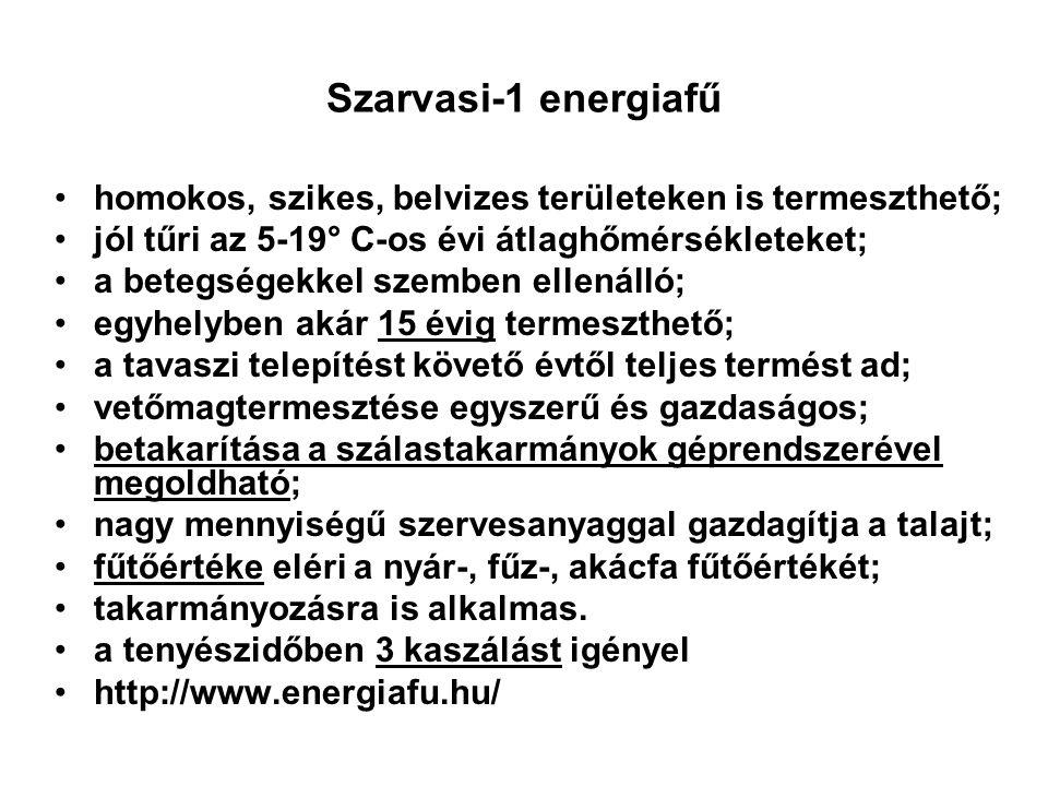 Szarvasi-1 energiafű homokos, szikes, belvizes területeken is termeszthető; jól tűri az 5-19° C-os évi átlaghőmérsékleteket;