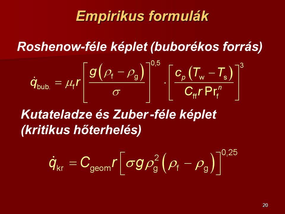 Empirikus formulák Roshenow-féle képlet (buborékos forrás)