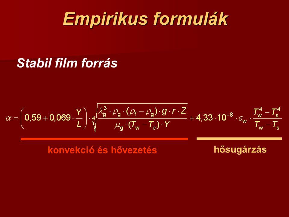 Empirikus formulák Stabil film forrás konvekció és hővezetés