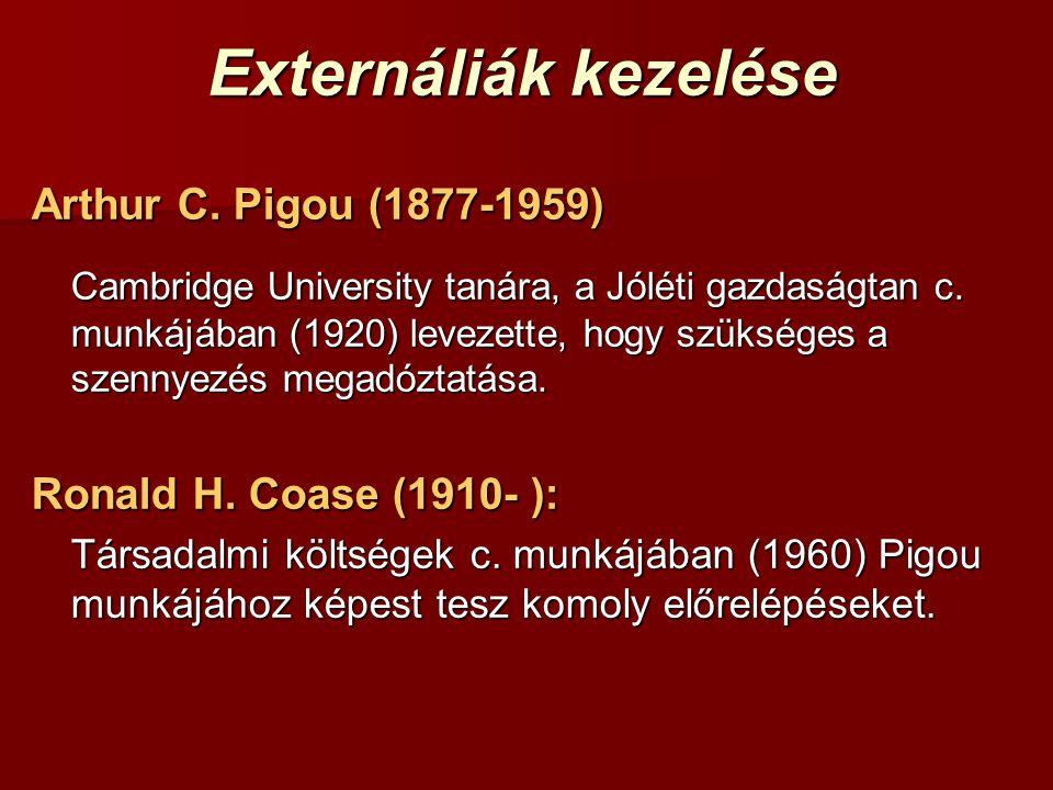 Externáliák kezelése Arthur C. Pigou (1877-1959)