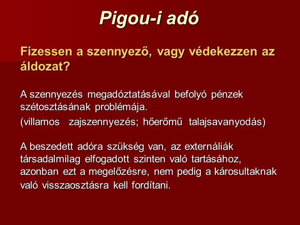 Pigou-i adó Fizessen a szennyező, vagy védekezzen az áldozat