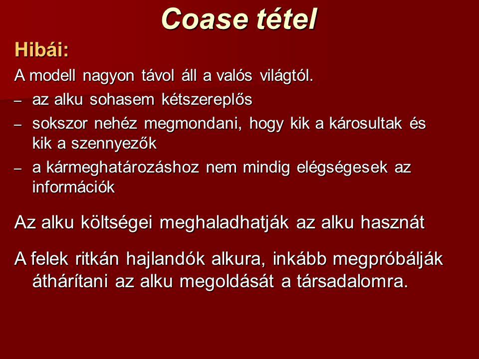 Coase tétel Hibái: Az alku költségei meghaladhatják az alku hasznát