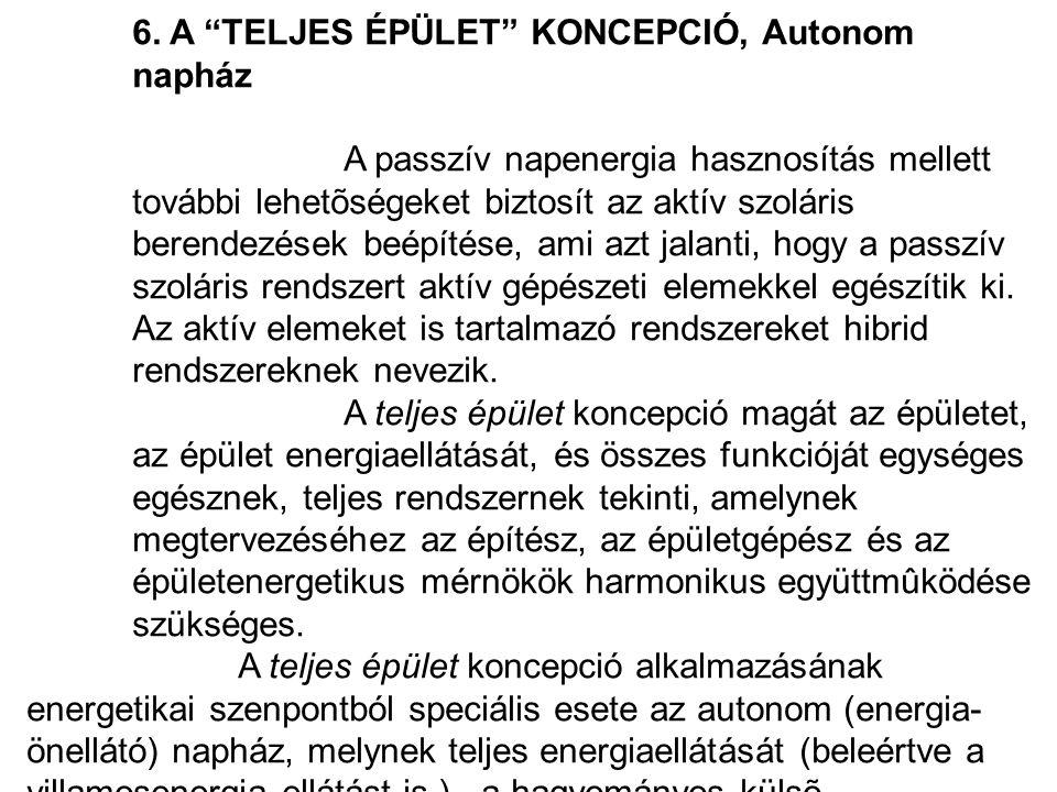 6. A TELJES ÉPÜLET KONCEPCIÓ, Autonom napház
