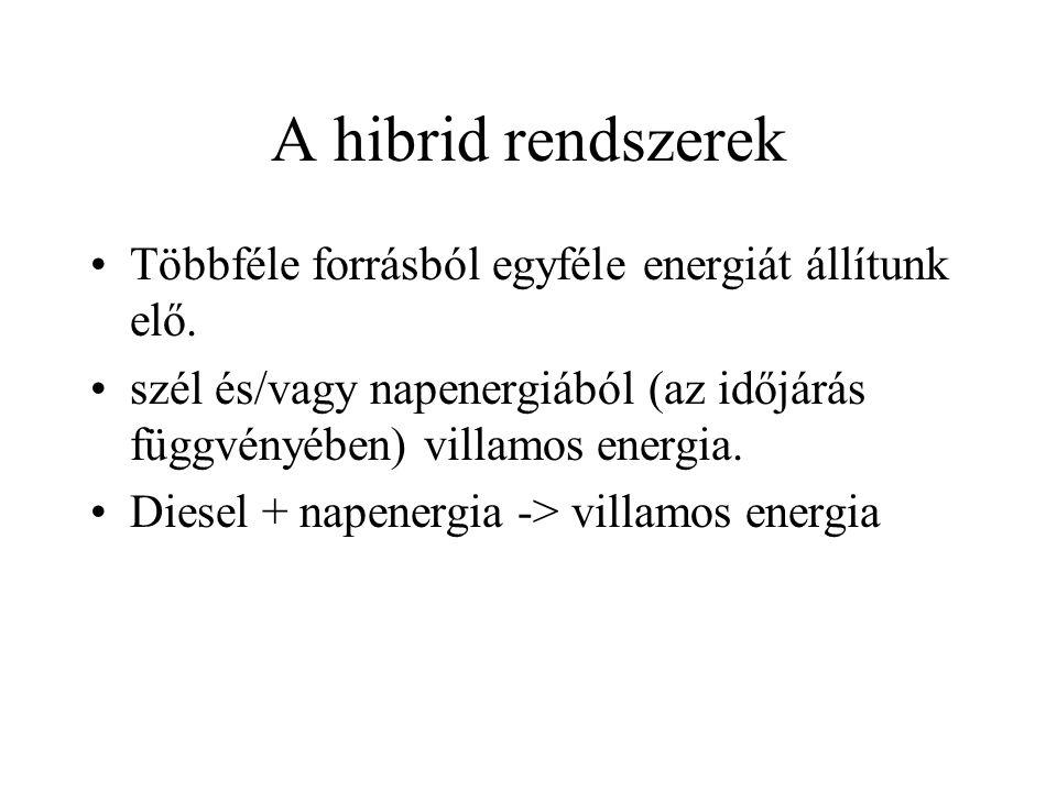 A hibrid rendszerek Többféle forrásból egyféle energiát állítunk elő.