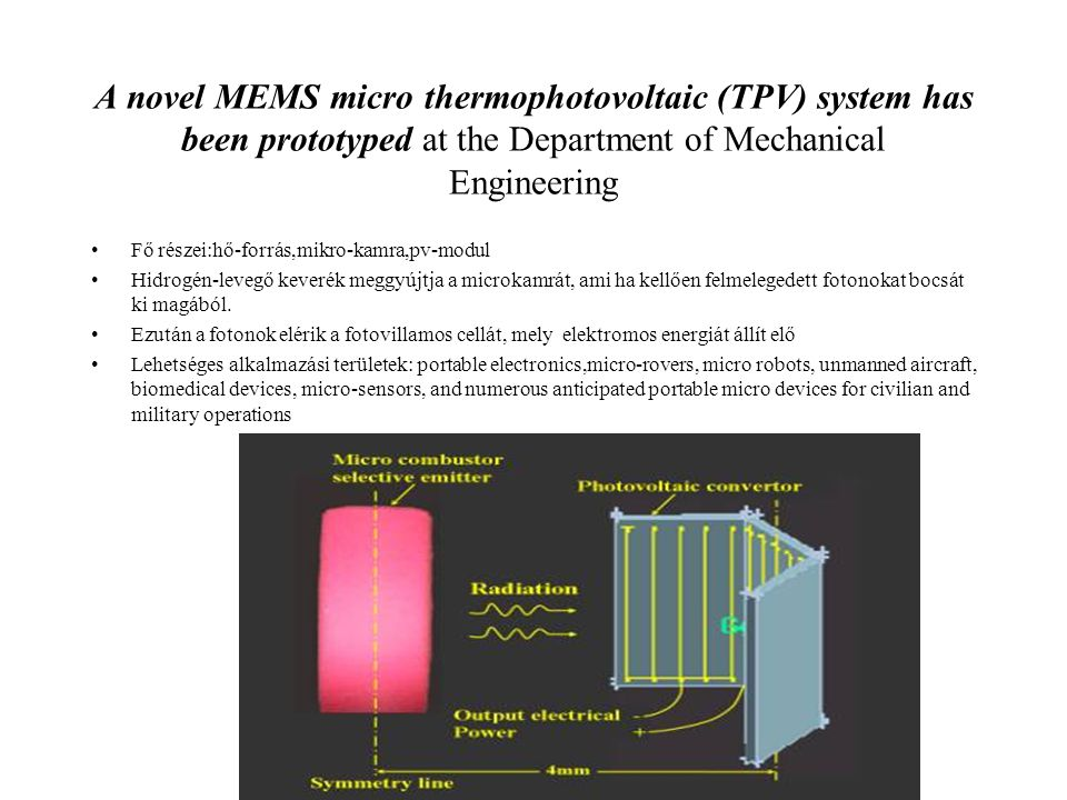 A novel MEMS micro thermophotovoltaic (TPV) system has been prototyped at the Department of Mechanical Engineering