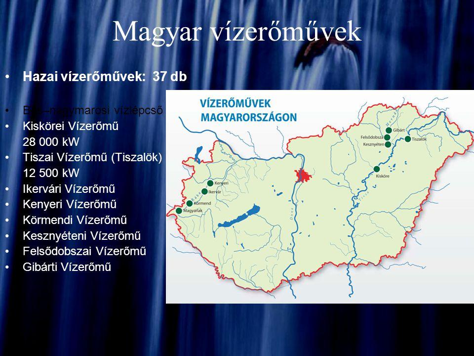 Magyar vízerőművek Hazai vízerőművek: 37 db Bős–nagymarosi vízlépcső