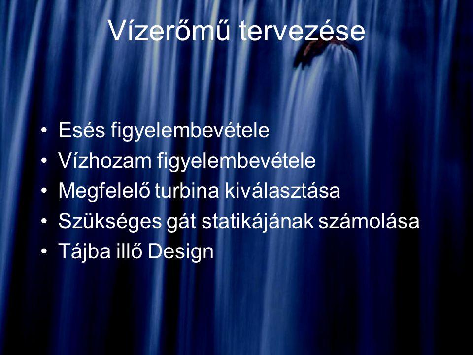 Vízerőmű tervezése Esés figyelembevétele Vízhozam figyelembevétele