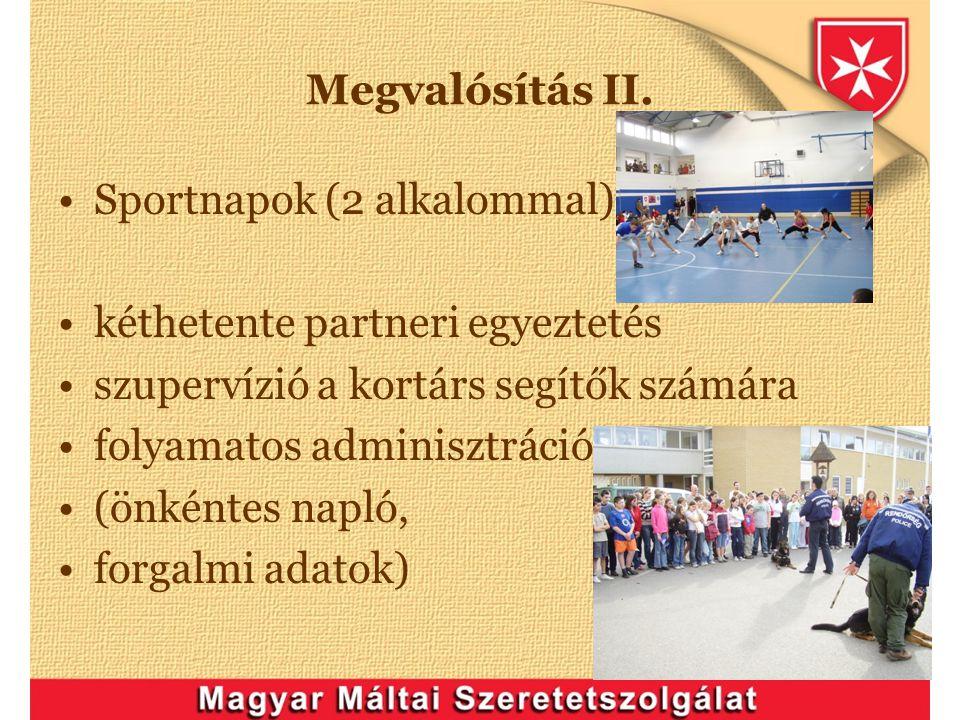 Megvalósítás II. Sportnapok (2 alkalommal) kéthetente partneri egyeztetés. szupervízió a kortárs segítők számára.