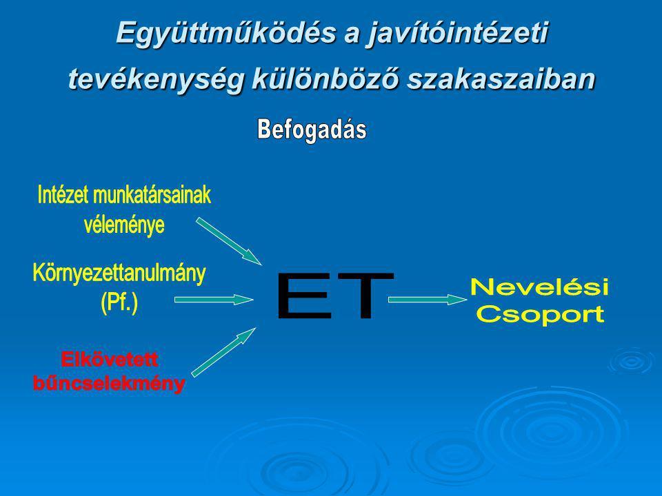 Együttműködés a javítóintézeti tevékenység különböző szakaszaiban