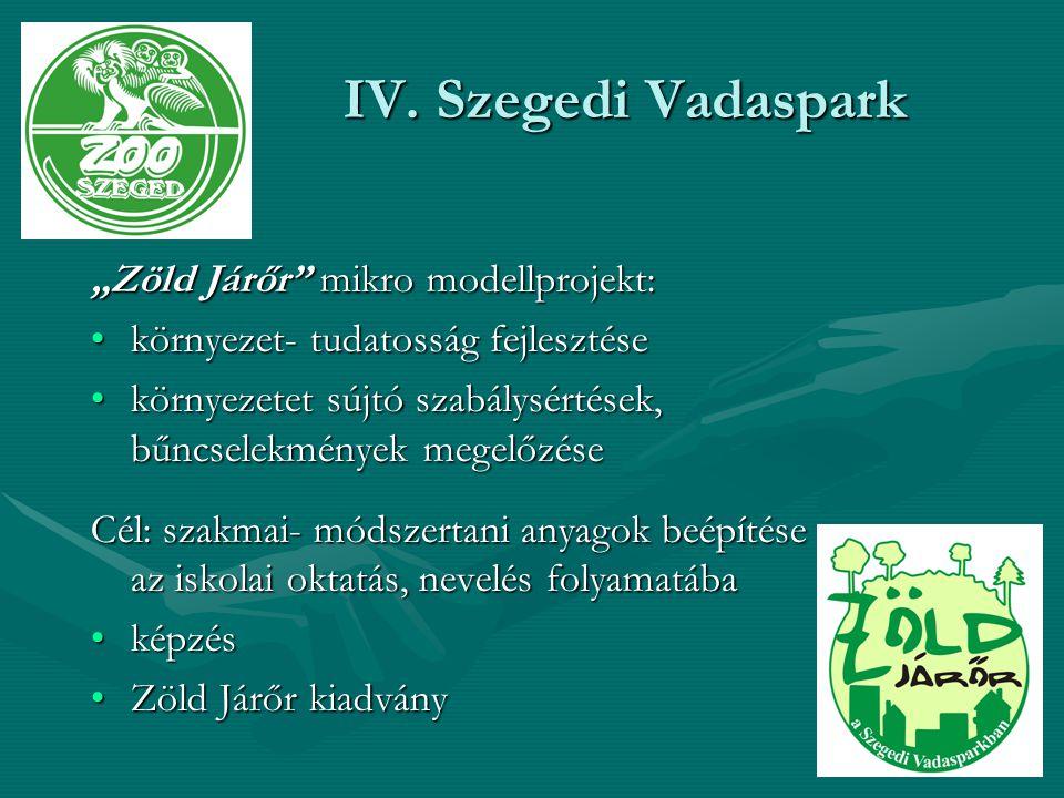 """IV. Szegedi Vadaspark """"Zöld Járőr mikro modellprojekt:"""