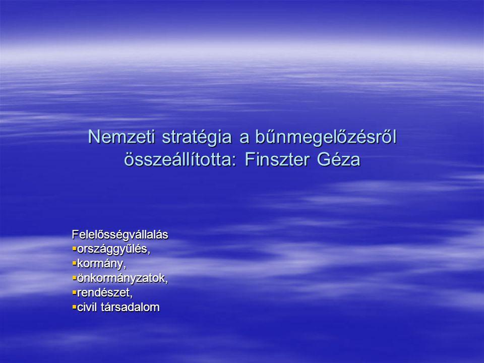 Nemzeti stratégia a bűnmegelőzésről összeállította: Finszter Géza
