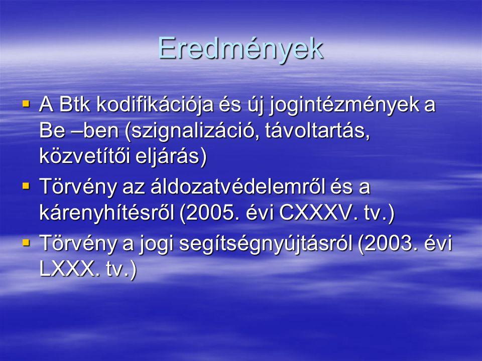 Eredmények A Btk kodifikációja és új jogintézmények a Be –ben (szignalizáció, távoltartás, közvetítői eljárás)