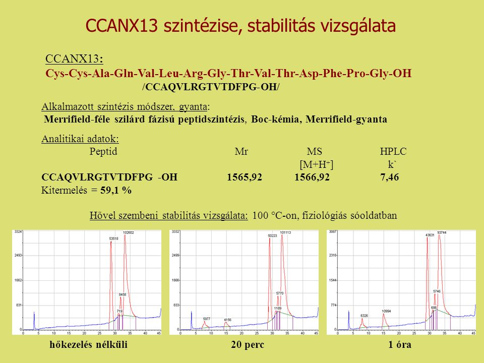 CCANX13 szintézise, stabilitás vizsgálata