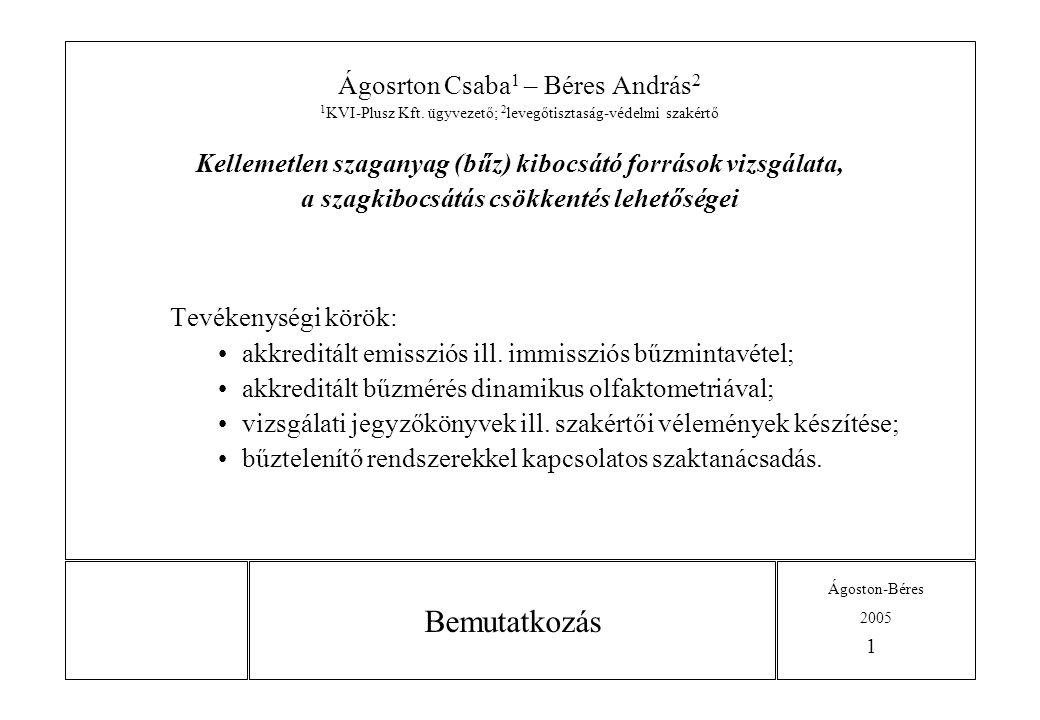 Bemutatkozás Ágosrton Csaba1 – Béres András2