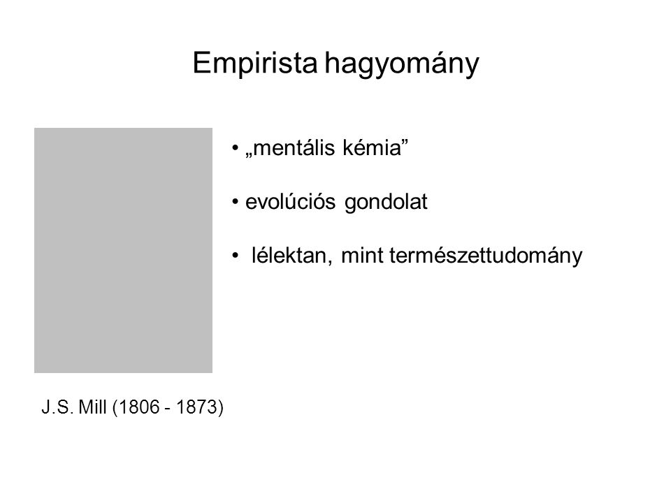 """Empirista hagyomány """"mentális kémia evolúciós gondolat"""