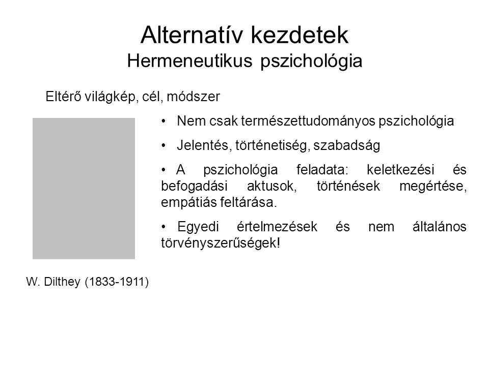 Alternatív kezdetek Hermeneutikus pszichológia