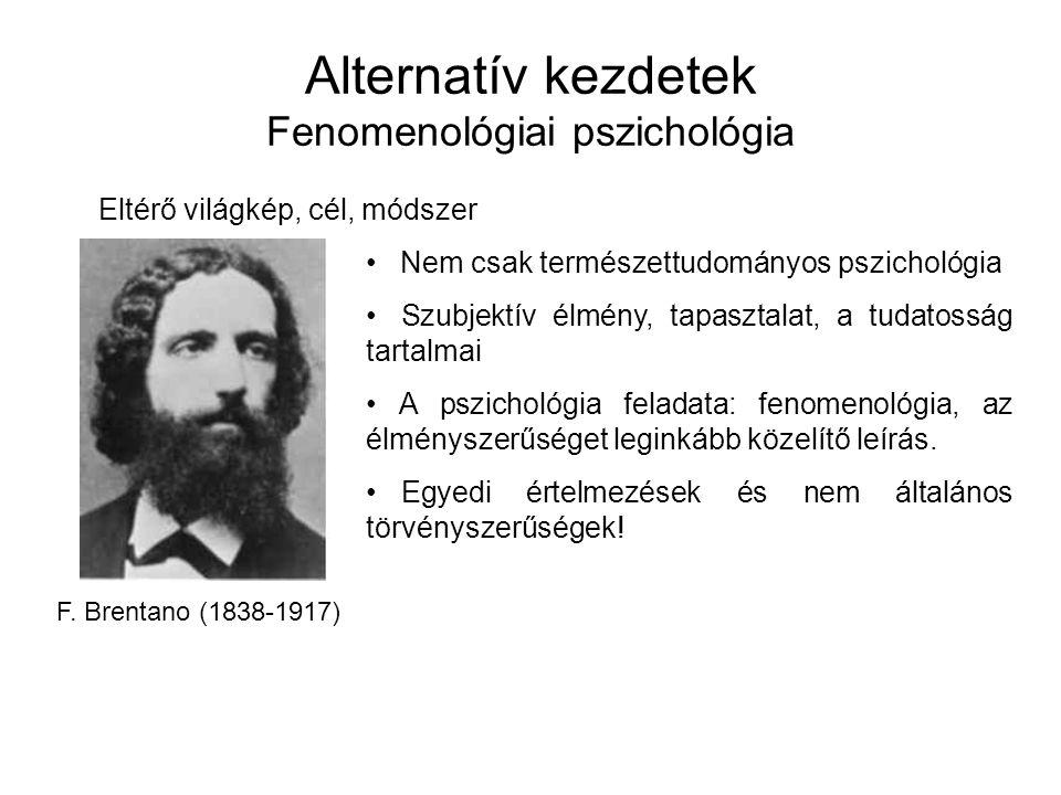 Alternatív kezdetek Fenomenológiai pszichológia