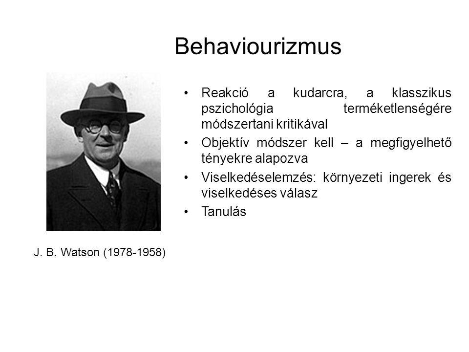 Behaviourizmus Reakció a kudarcra, a klasszikus pszichológia terméketlenségére módszertani kritikával.