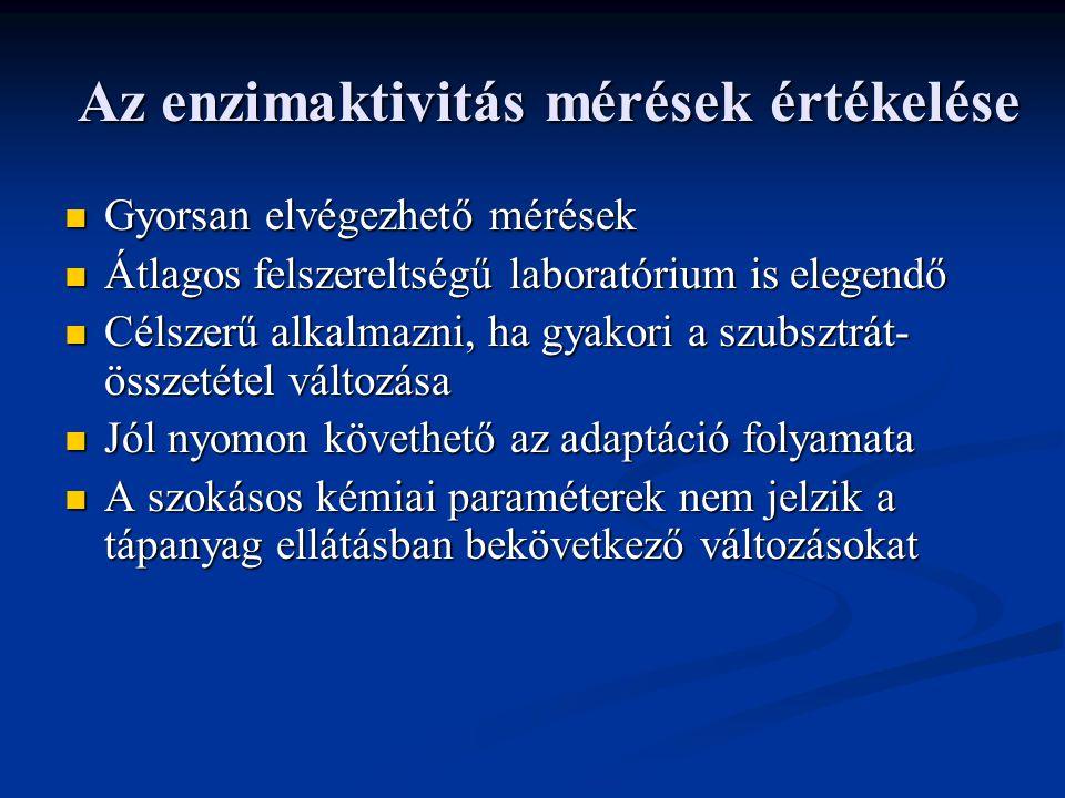 Az enzimaktivitás mérések értékelése