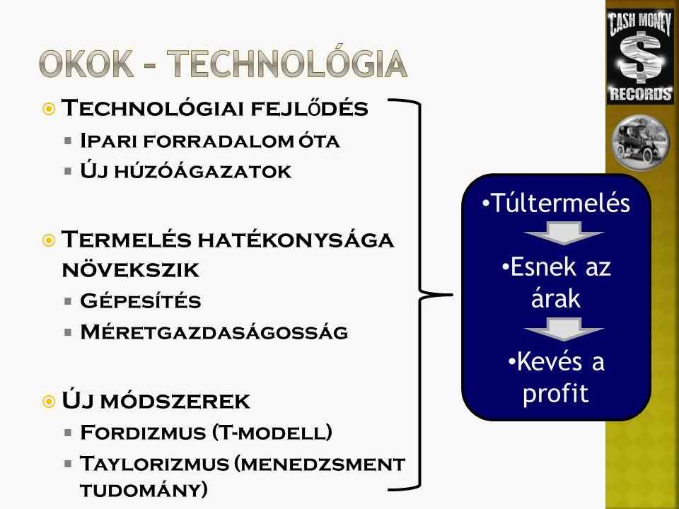 Okok – Technológia Túltermelés Esnek az árak Kevés a profit