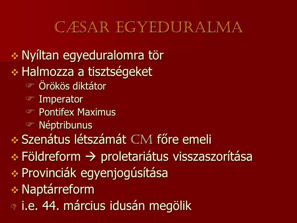 Cæsar egyeduralma Nyíltan egyeduralomra tör Halmozza a tisztségeket