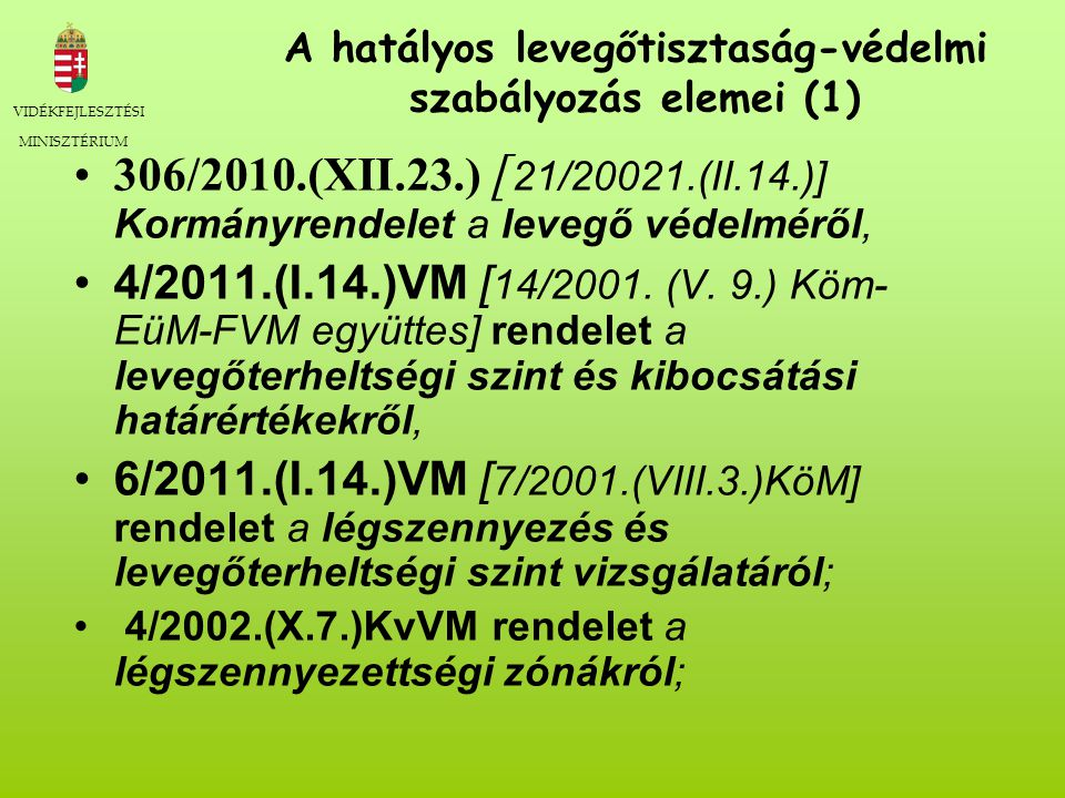 A hatályos levegőtisztaság-védelmi szabályozás elemei (1)