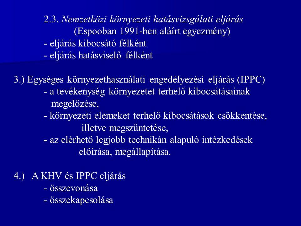 2.3. Nemzetközi környezeti hatásvizsgálati eljárás