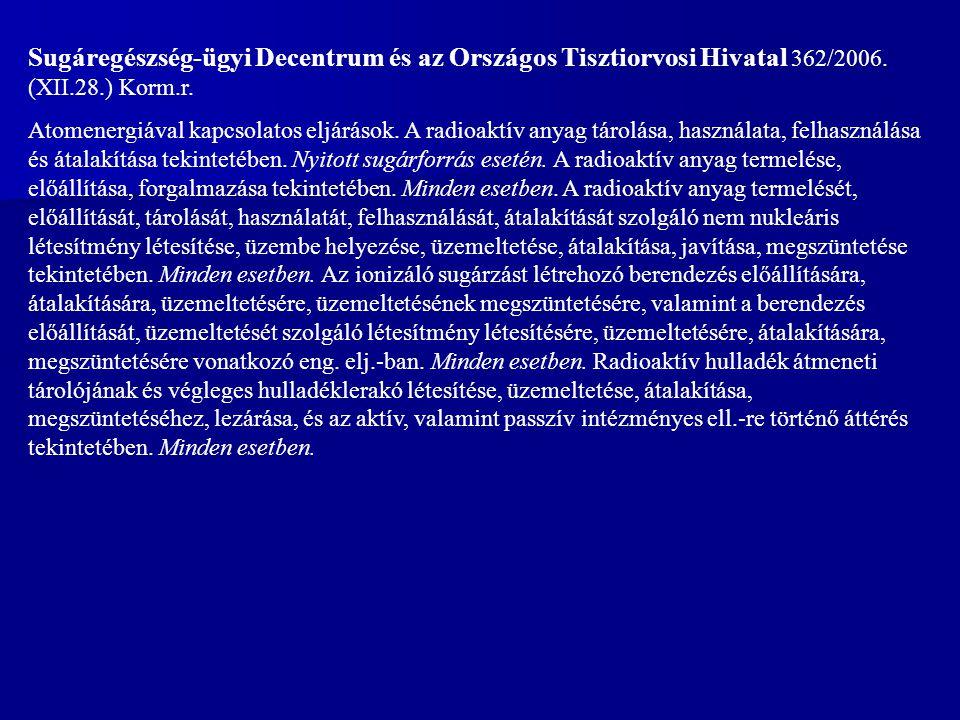 Sugáregészség-ügyi Decentrum és az Országos Tisztiorvosi Hivatal 362/2006. (XII.28.) Korm.r.