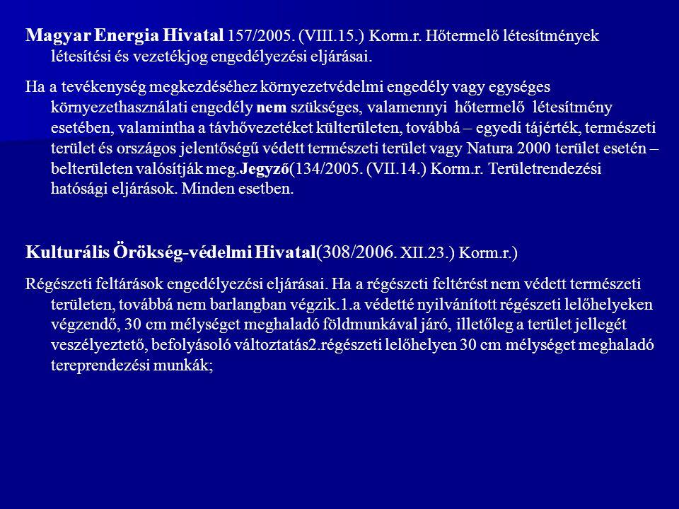 Kulturális Örökség-védelmi Hivatal(308/2006. XII.23.) Korm.r.)