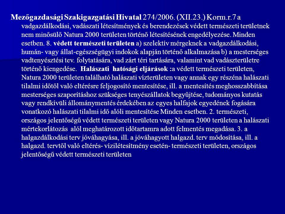Mezőgazdasági Szakigazgatási Hivatal 274/2006. (XII. 23. ) Korm. r