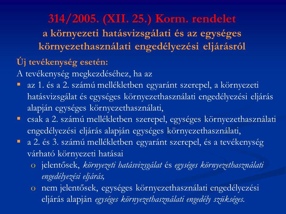 314/2005. (XII. 25.) Korm. rendelet a környezeti hatásvizsgálati és az egységes környezethasználati engedélyezési eljárásról