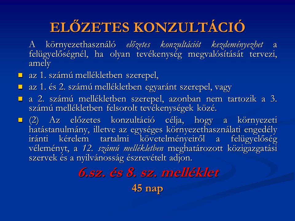 ELŐZETES KONZULTÁCIÓ 6.sz. és 8. sz. melléklet