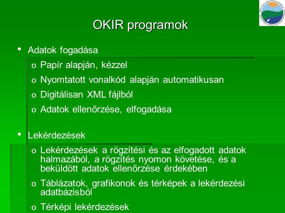 OKIR programok Adatok fogadása Papír alapján, kézzel