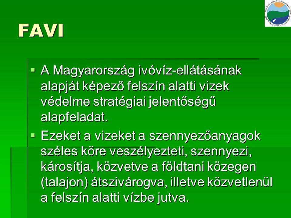 FAVI A Magyarország ivóvíz-ellátásának alapját képező felszín alatti vizek védelme stratégiai jelentőségű alapfeladat.